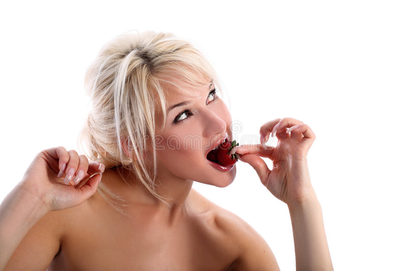 Girl with strawberry stock photography