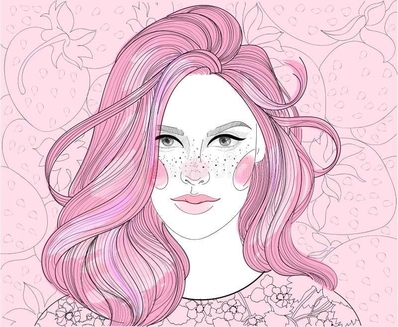 Girl on strawberry background royalty free illustration