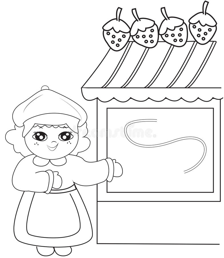 Girl Beside A Strawberry Store Coloring Page Stock Illustration
