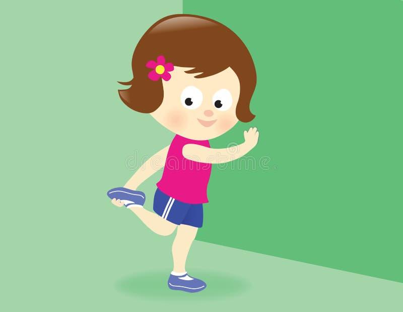 Girl stretching leg. Illustration of a cute girl stretching her leg stock illustration