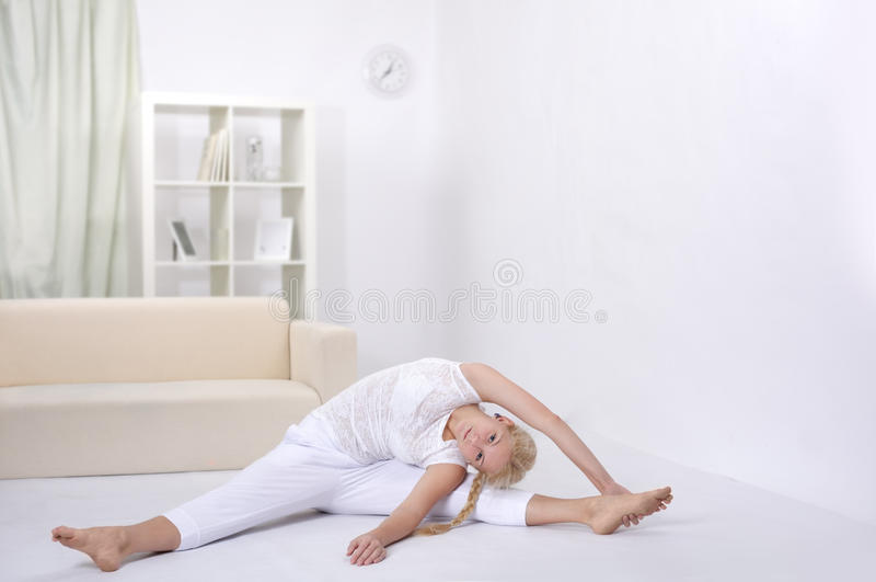 girl stretching muscles royalty free stock images