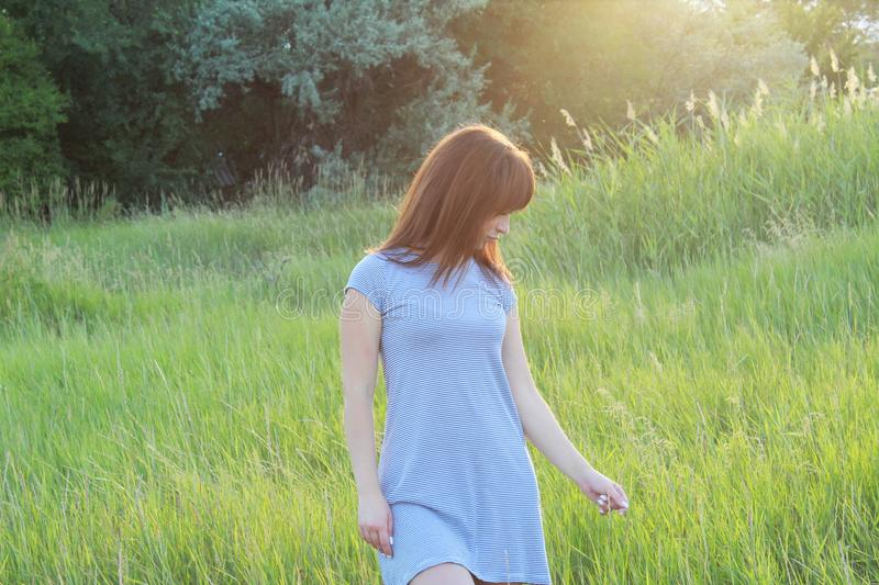 Girl in striped dress in nature at sunset royalty free stock image
