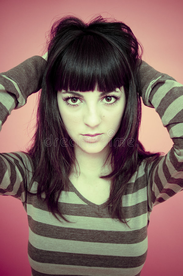 Download Girl in striped sweater stock photo. Image of bangs, hair - 1862326