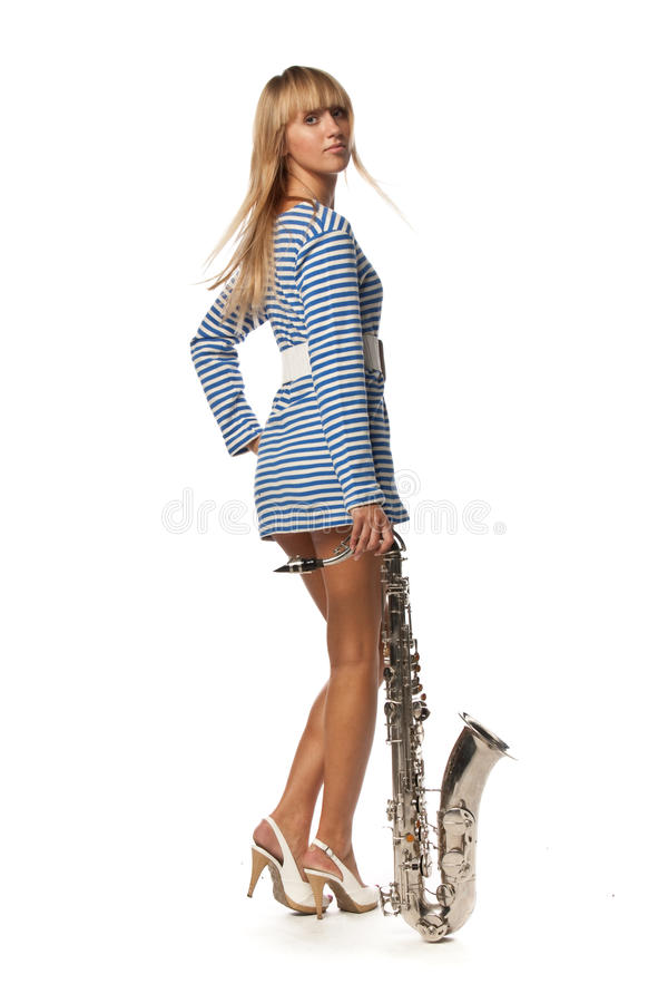 Download Girl In A Stripped Vest With A Saxophone Stock Photo - Image: 11753056