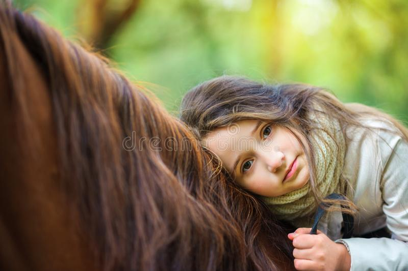 A girl strolls on her horse. Active rest stock images