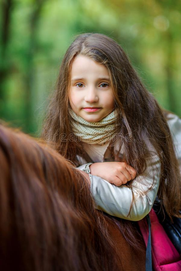 A girl strolls on her horse. Active rest royalty free stock images