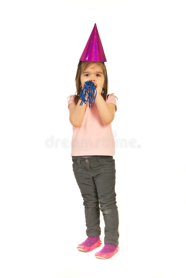 Download Girl Strong Blow In Noise Maker Stock Photo - Image: 23454992
