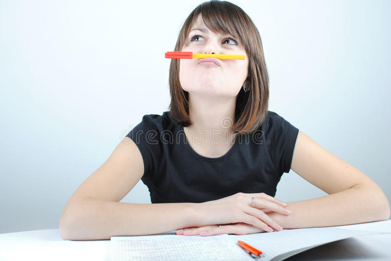 Download Girl student stock image. Image of exercise, ponder, school - 21054721