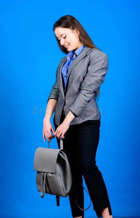 Girl student in formal clothes. female bag fashion. business. Shool girl with knapsack. student life. Smart beauty. Nerd. Stylish woman in jacket with leather stock photo