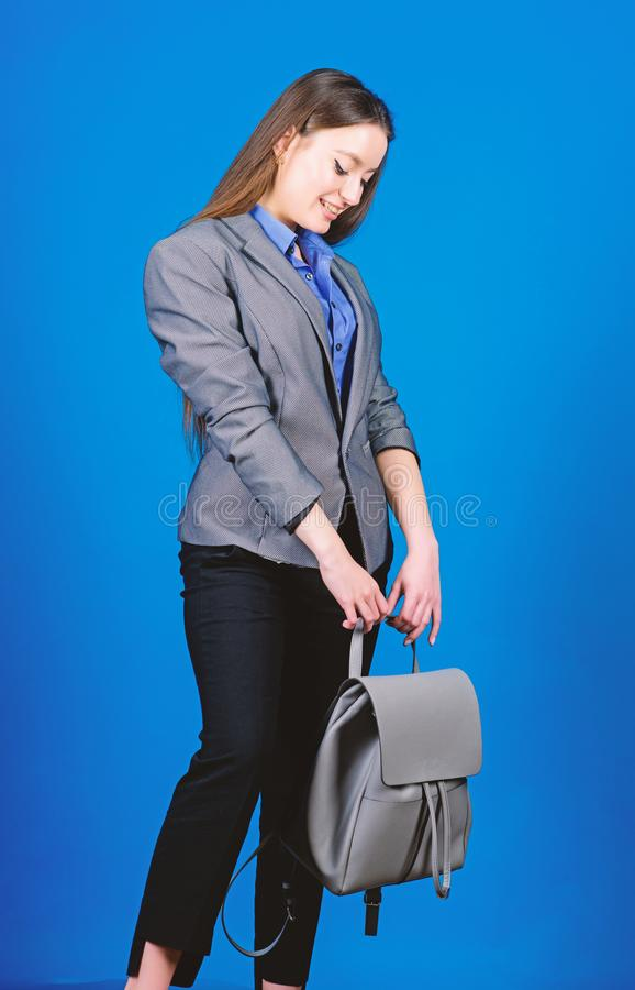 Girl student in formal clothes. female bag fashion. business. Shool girl with knapsack. student life. Smart beauty. Nerd royalty free stock photos
