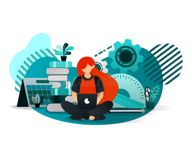 Girl Student Graduate Sitting and Learning Using Laptop Internet and Surrounded by Books and Stationery. Flat Cartoon Style. Vecto stock illustration