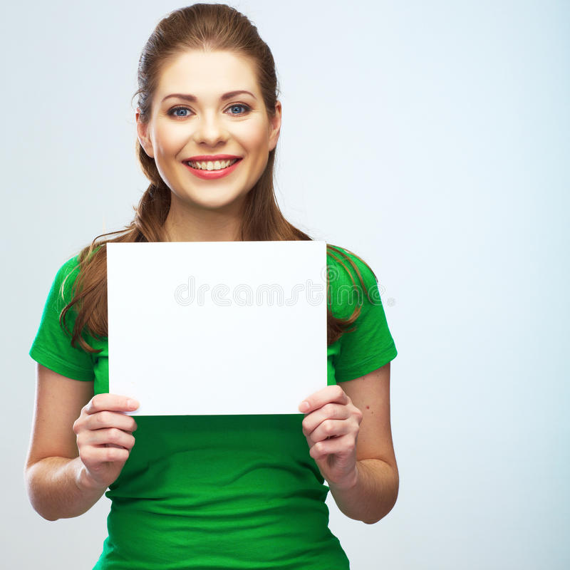 Girl student hold white blank board. White background young wom stock images