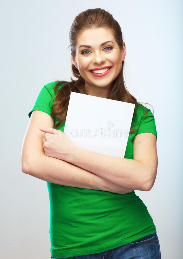 Girl student hold white blank board. White background young wom stock image