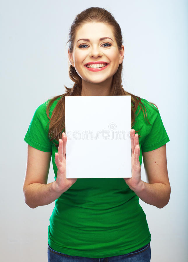Girl student hold white blank board. White background young wom stock photography