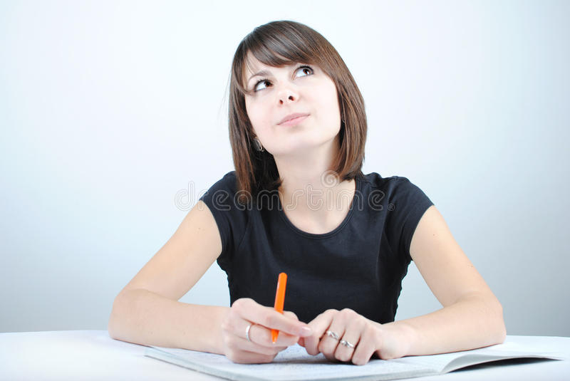 Download Girl student writes stock image. Image of check, note - 21054309