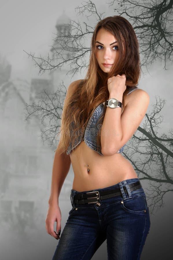 Girl in the studio stock photo