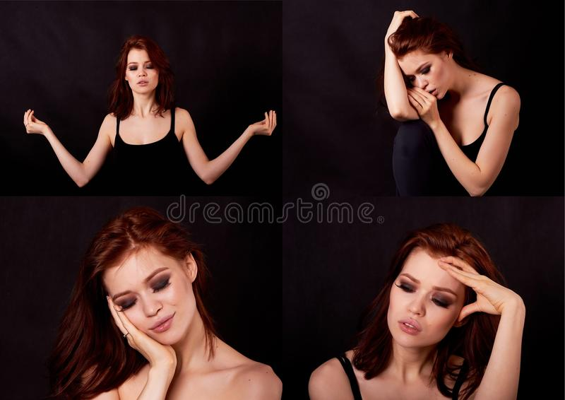 Girl in Studio on a black background. Red hair, great figure. Collage .Emotional state pretty girls stock image