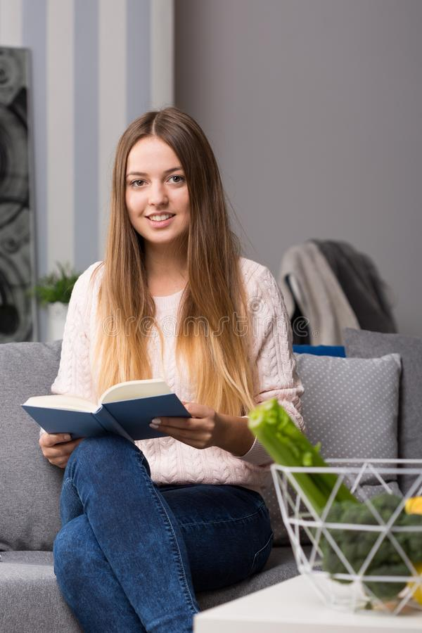 Girl studying diabetes diet royalty free stock image