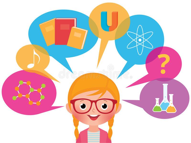 Girl studying different sciences vector illustration
