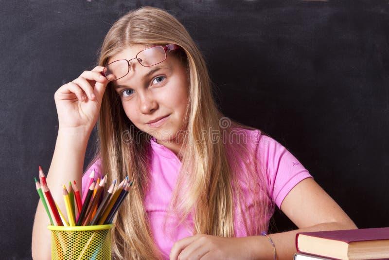 Girl studying stock photo