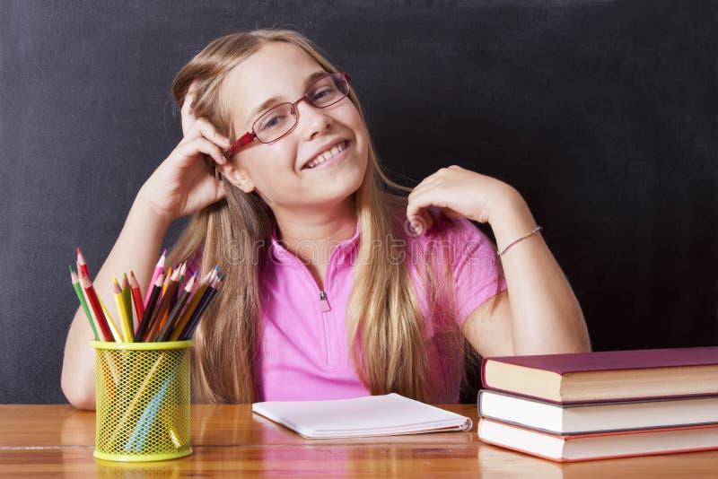 Girl studying stock photography