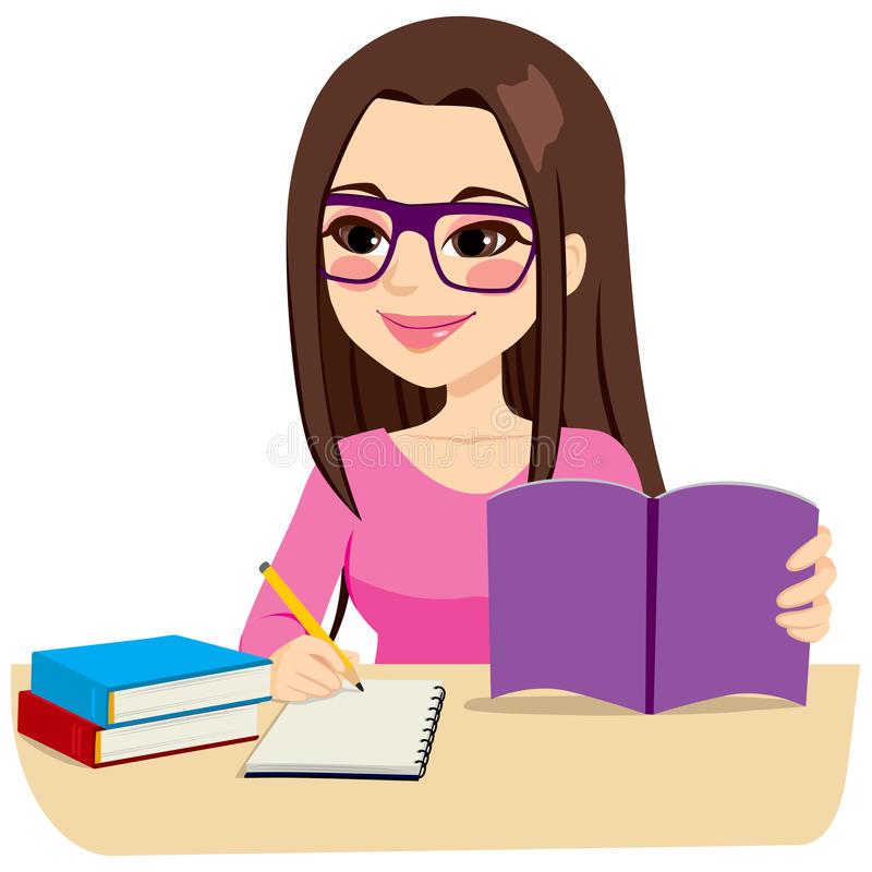 Girl Studying Taking Notes. Teenage girl studying with some books and taking notes writing on notebook royalty free illustration