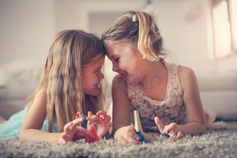 Girl stuff. Little girls at home. stock image