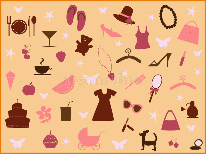 Girl stuff2 stock illustration