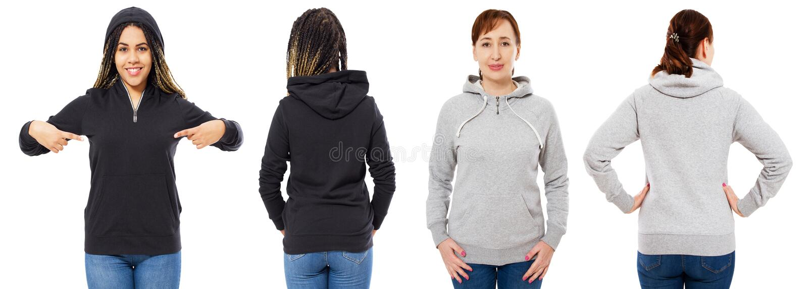 Girl in stylish black hoodie isolated on white background : girl in grey hood front and back view isolated royalty free stock image