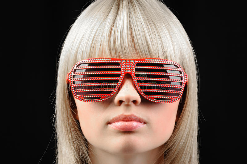 Download The Girl In Stylish Sunglasses - Jalousie Stock Image - Image: 12853557