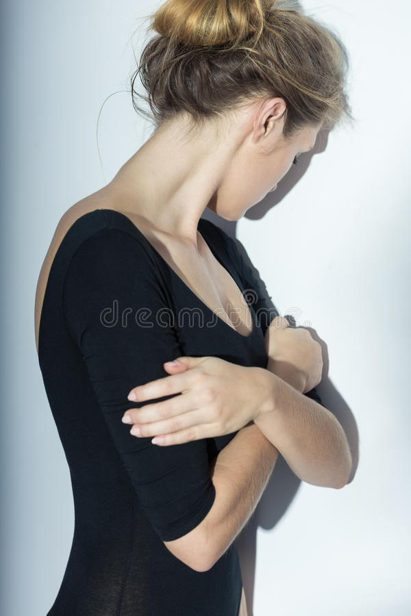 Girl suffering from bulimia royalty free stock image
