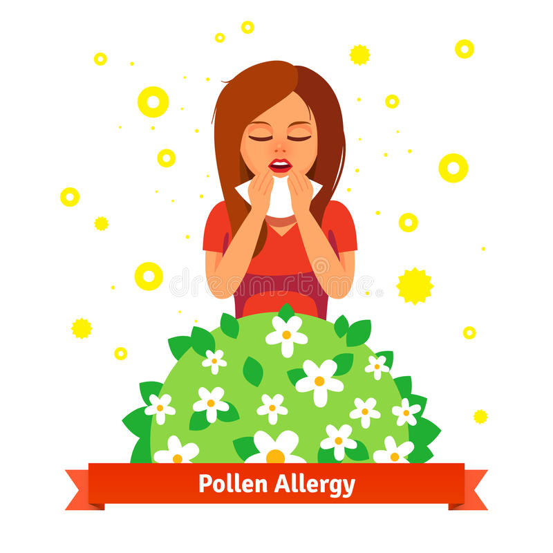 Girl suffering from spring pollen allergy. Sneezing into handkerchief behind blossoming flower bush. Flat style vector illustration on white background vector illustration