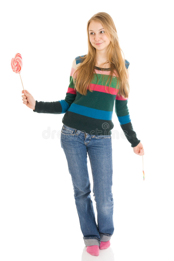 The girl with a sugar candy isolated on a white stock image
