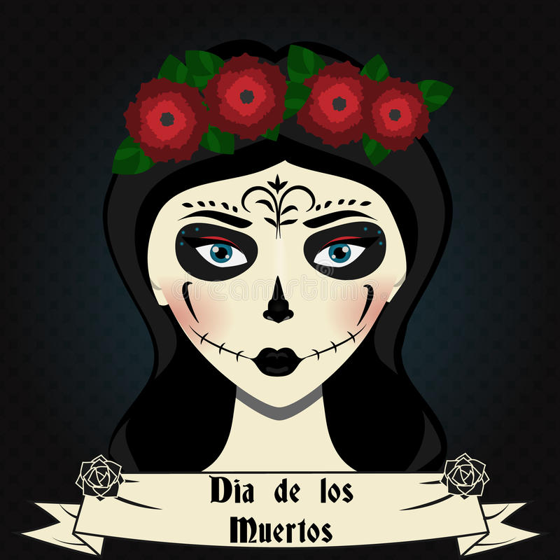 Girl with sugar skull calavera make up. Mexican day of dead vector illustration. Girl with sugar skull calavera make up and roses wreath . Mexican day of dead vector illustration