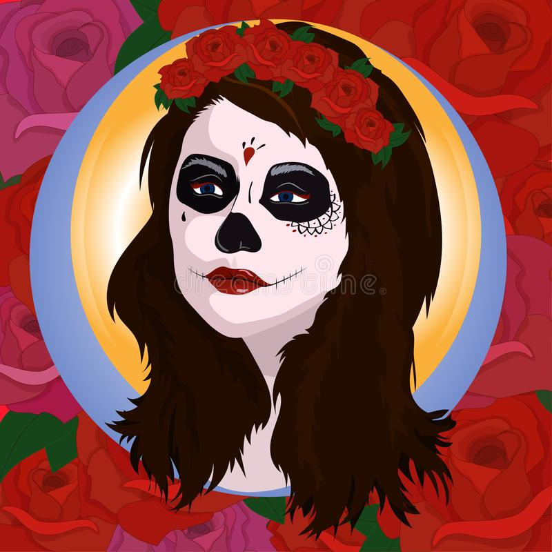 Girl with sugar skull makeup. Calavera Catrina. Mexican Day of the dead or halloween person. Dia de los Muertos stock illustration