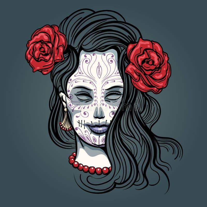 Girl with Sugar Skull Makeup stock illustration