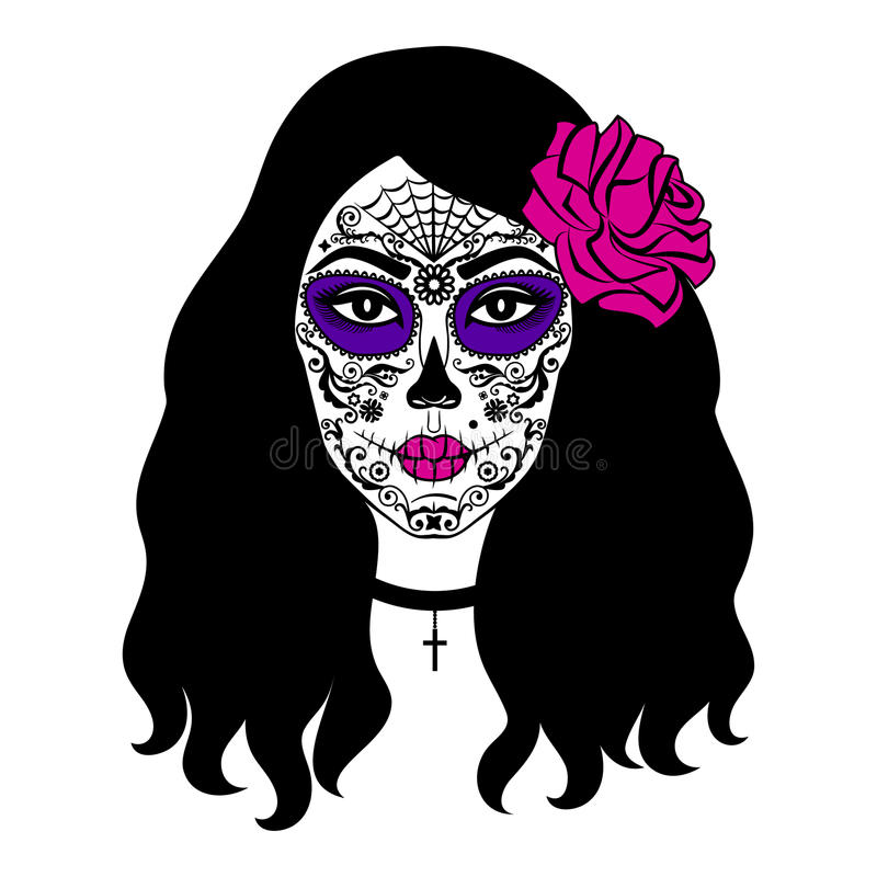 Girl with sugar skull makeup. Mexican Day of the dead. Girl with sugar skull makeup. Calavera Catrina. Mexican Day of the dead or halloween person. Dia de los royalty free illustration