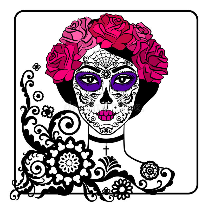 Girl with sugar skull makeup. Mexican Day of the dead. stock illustration