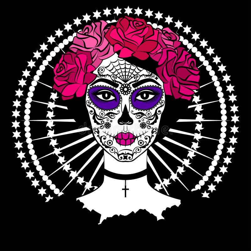 Girl with sugar skull makeup. Mexican Day of the dead. Girl with sugar skull makeup. Calavera Catrina. Mexican Day of the dead or halloween person. Dia de los vector illustration