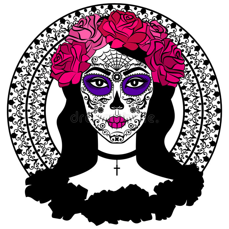 Girl Sugar Skull Makeup Mexican Day Dead
