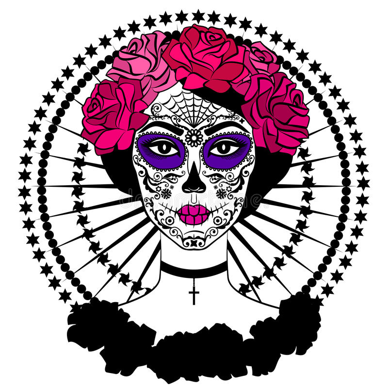 Girl with sugar skull makeup. Mexican Day of the dead. Girl with sugar skull makeup. Calavera Catrina. Mexican Day of the dead or halloween person. Dia de los stock illustration