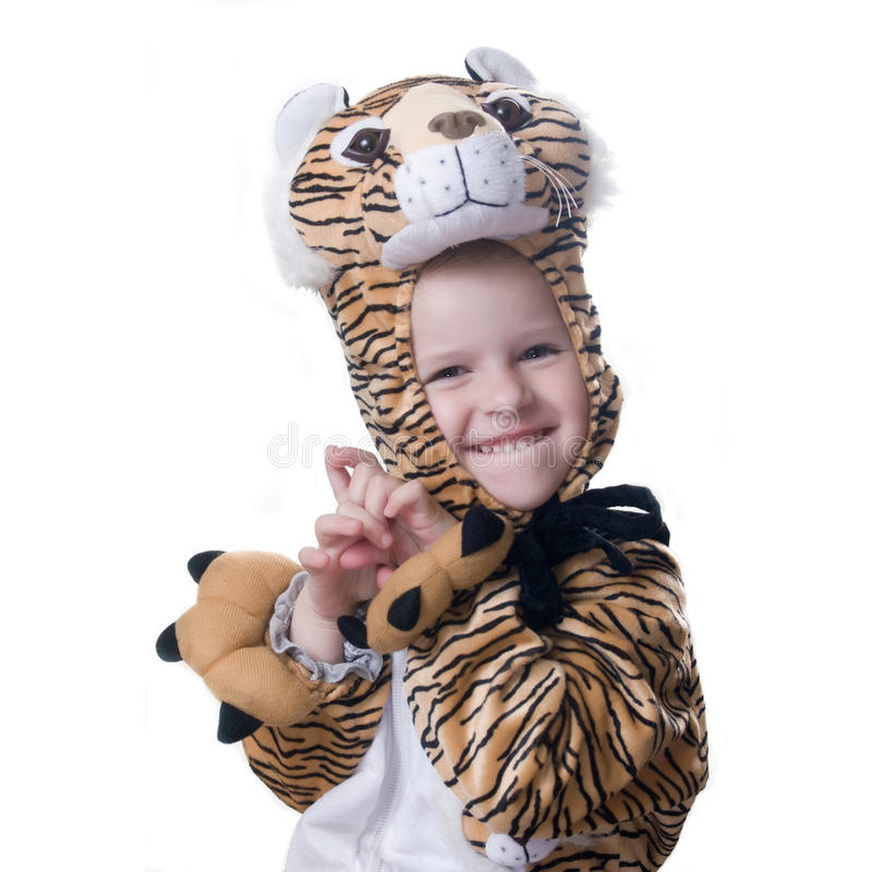 Girl in suit of tiger royalty free stock images