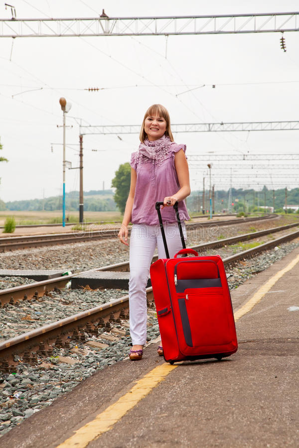 Download Girl with a suitcase stock photo. Image of departure - 21265830