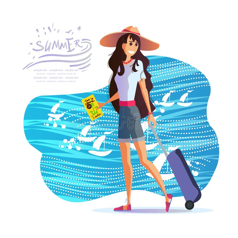 Girl with a suitcase in a hat travels around the world, vector eps 10. Young girl with a suitcase in a hat travels around the world, the sea, the sun and the vector illustration