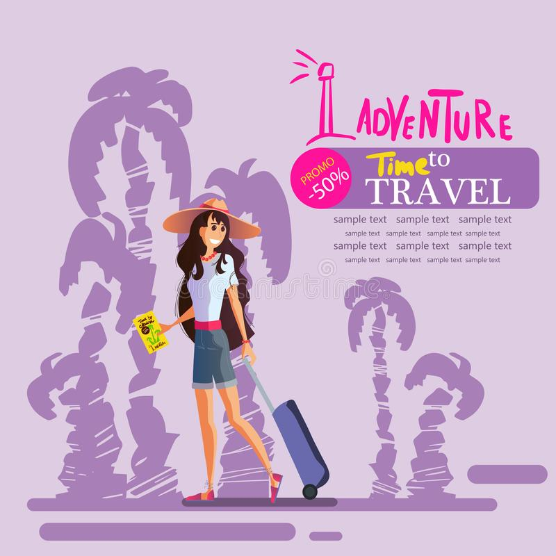 Girl with a suitcase in a hat travels around the world, vector eps 10. Young girl with a suitcase in a hat travels around the world, the sea, the sun and the royalty free illustration