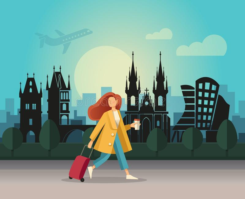 A girl with a suitcase and walking on the background of an abstract landscape of Prague vector illustration
