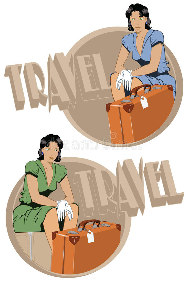 Download Girl on suitcases stock vector. Illustration of case - 12154289