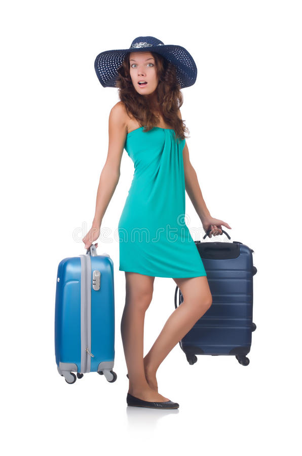 Download Girl With Suitcases Stock Photo - Image: 34284180