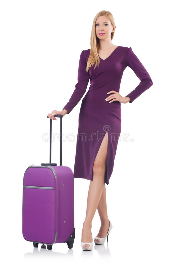 Download Girl with suitcases stock image. Image of adventure, standing - 34468991