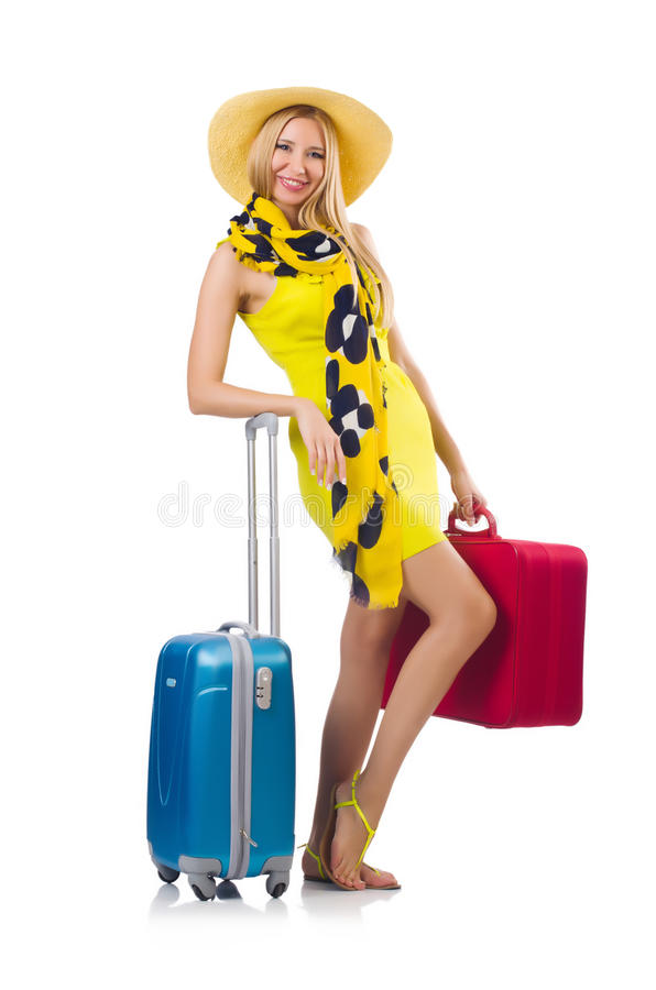 Download Girl with suitcases stock photo. Image of airport, beach - 35064546
